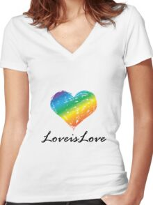 Pride - Love is Love Women's Fitted V-Neck T-Shirt