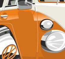 VW T1 bus caricature orange Sticker