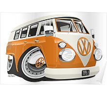 VW T1 bus caricature orange Poster