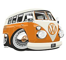 VW T1 bus caricature orange Photographic Print