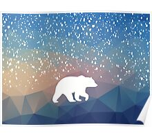 Beary Snowy in Blue Poster