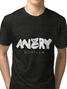 Angry Gorilla White Tri-blend T-Shirt