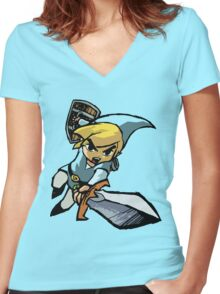 Toon Link - Changeable Color Women's Fitted V-Neck T-Shirt