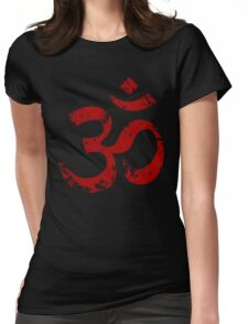 Red Painted Ohm Symbol Womens Fitted T-Shirt