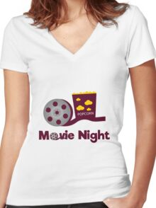 Retro movies night Women's Fitted V-Neck T-Shirt