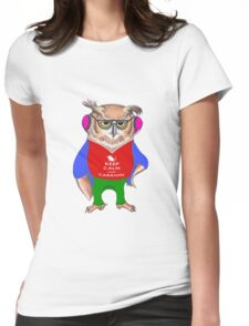 Hipster Owl - Keep Calm Womens Fitted T-Shirt