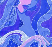 """The Wave"", water princess, fantasy art, blue shades Sticker"
