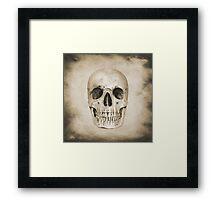 Sepia Grunge Skull Framed Print