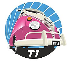 VW Type 2 Transporter T1 pink Photographic Print