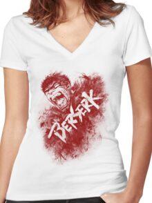 Berserk Blood Art Women's Fitted V-Neck T-Shirt