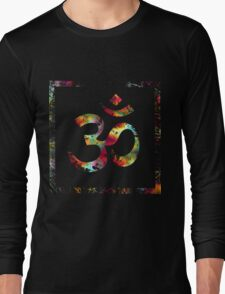Tie Die Painted Ohm Symbol Squared Long Sleeve T-Shirt