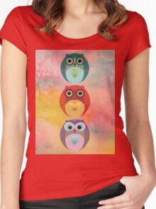Three Little Owlets Women's Fitted Scoop T-Shirt