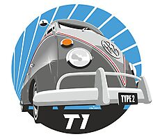 VW Type 2 Transporter T1 grey Photographic Print