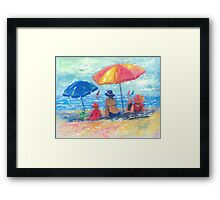 At the Beach With Mom and Grandma Framed Print