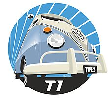 VW Type 2 Transporter T1 light blue Photographic Print