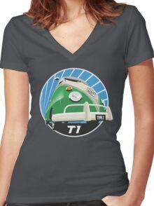 VW Type 2 Transporter T1 bright green Women's Fitted V-Neck T-Shirt