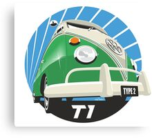 VW Type 2 Transporter T1 bright green Canvas Print