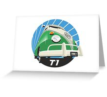 VW Type 2 Transporter T1 bright green Greeting Card