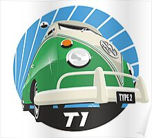VW Type 2 Transporter T1 bright green Poster
