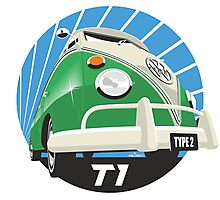 VW Type 2 Transporter T1 bright green Photographic Print