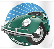 Sixties VW Beetle green Poster