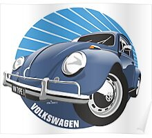 Sixties VW Beetle blue Poster