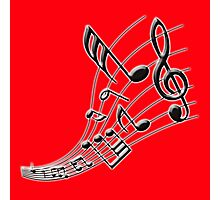 Music Note on Red Photographic Print