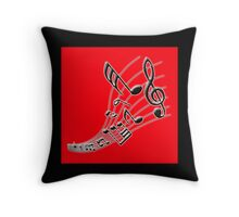 Music Note on Red Throw Pillow