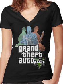 Grand Theft Auto V - Minimalistic Women's Fitted V-Neck T-Shirt