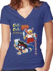 Chiki Chiki Boys Are GO! Women's Fitted V-Neck T-Shirt