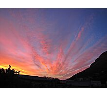 Mountain and clouds highlighting sunset backlit Photographic Print
