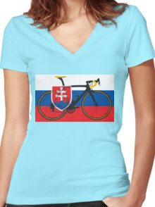 Bike Flag Slovakia (Big - Highlight) Women's Fitted V-Neck T-Shirt