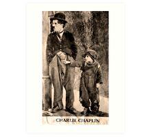Charlie Chaplin and The Kid Art Print