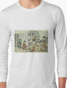 Kitagawa Utamaro - House Of Ichizuke. People portrait: People, woman and man,  Samurai, geisha , female and male,  Samurai  and geisha, headdress, man  men, women and men, love, beautiful dress Long Sleeve T-Shirt