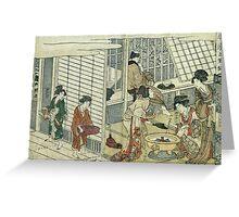 Kitagawa Utamaro - House Of Ichizuke. People portrait: People, woman and man,  Samurai, geisha , female and male,  Samurai  and geisha, headdress, man  men, women and men, love, beautiful dress Greeting Card