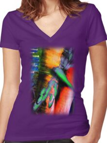 Psychedelic Dragonfly  Women's Fitted V-Neck T-Shirt