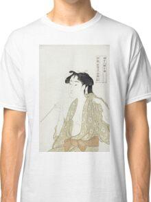 Kitagawa Utamaro - Portrait Of A Woman Smoking. Woman portrait: sensual woman, geisha, female style, pretty women, femine,  eastern, beautiful dress, headdress, silk, sexy lady,  mirror Classic T-Shirt