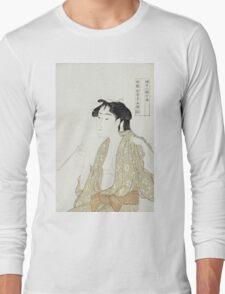 Kitagawa Utamaro - Portrait Of A Woman Smoking. Woman portrait: sensual woman, geisha, female style, pretty women, femine,  eastern, beautiful dress, headdress, silk, sexy lady,  mirror Long Sleeve T-Shirt