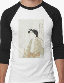Kitagawa Utamaro - Portrait Of A Woman Smoking. Woman portrait: sensual woman, geisha, female style, pretty women, femine,  eastern, beautiful dress, headdress, silk, sexy lady,  mirror Men's Baseball ¾ T-Shirt