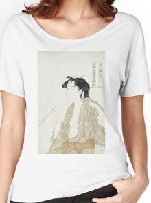 Kitagawa Utamaro - Portrait Of A Woman Smoking. Woman portrait: sensual woman, geisha, female style, pretty women, femine,  eastern, beautiful dress, headdress, silk, sexy lady,  mirror Women's Relaxed Fit T-Shirt