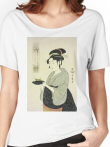 Kitagawa Utamaro - Portrait Of Naniwaya Okita. Woman portrait: sensual woman, geisha, female style, pretty women, femine,  eastern, beautiful dress, headdress, silk, sexy lady,  mirror Women's Relaxed Fit T-Shirt