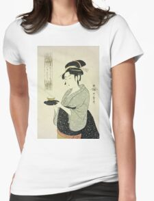 Kitagawa Utamaro - Portrait Of Naniwaya Okita. Woman portrait: sensual woman, geisha, female style, pretty women, femine,  eastern, beautiful dress, headdress, silk, sexy lady,  mirror Womens Fitted T-Shirt
