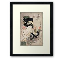 Kitagawa Utamaro - The Courtesan Ichikawa Of The Matsuba Establishmentlate. Woman portrait, sensual geisha, female style, pretty women, femine,  eastern, beautiful dress, headdress, silk, mirror Framed Print