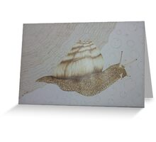 Snail Adventure (pyrography on paper) Greeting Card