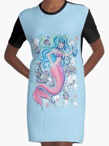 Pink Tailfin Mermaid Graphic T-Shirt Dress