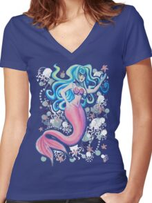 Pink Tailfin Mermaid Women's Fitted V-Neck T-Shirt