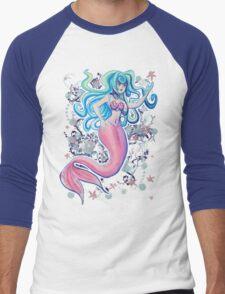 Pink Tailfin Mermaid Men's Baseball ¾ T-Shirt