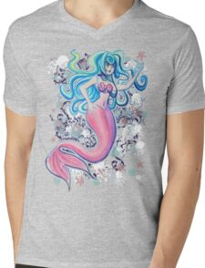 Pink Tailfin Mermaid Mens V-Neck T-Shirt