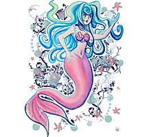 Pink Tailfin Mermaid Photographic Print