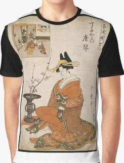 Kitagawa Utamaro - The Courtesan Karakoto Of The Chojiya Seated By An Arrangement Of Plum Flowers. Woman portrait: sensual geisha, female style, pretty women, femine,  eastern, beautiful dress, silk Graphic T-Shirt